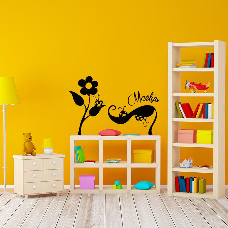 sticker pr nom personnalis et les coccinelles nature. Black Bedroom Furniture Sets. Home Design Ideas
