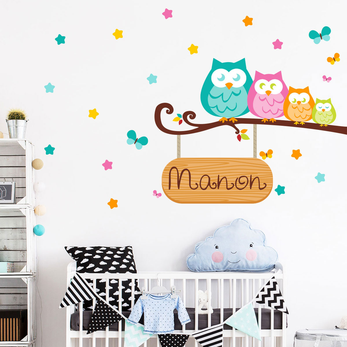 sticker pr nom personnalis famille de hiboux stickers. Black Bedroom Furniture Sets. Home Design Ideas