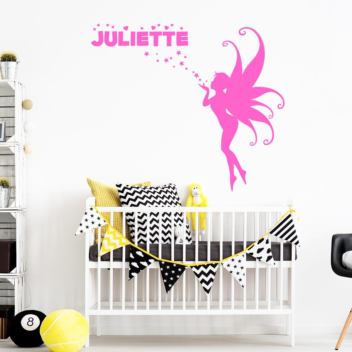 Super Sticker prénom personnalisé fée papillon – Filles Fées - Ambiance  KQ55
