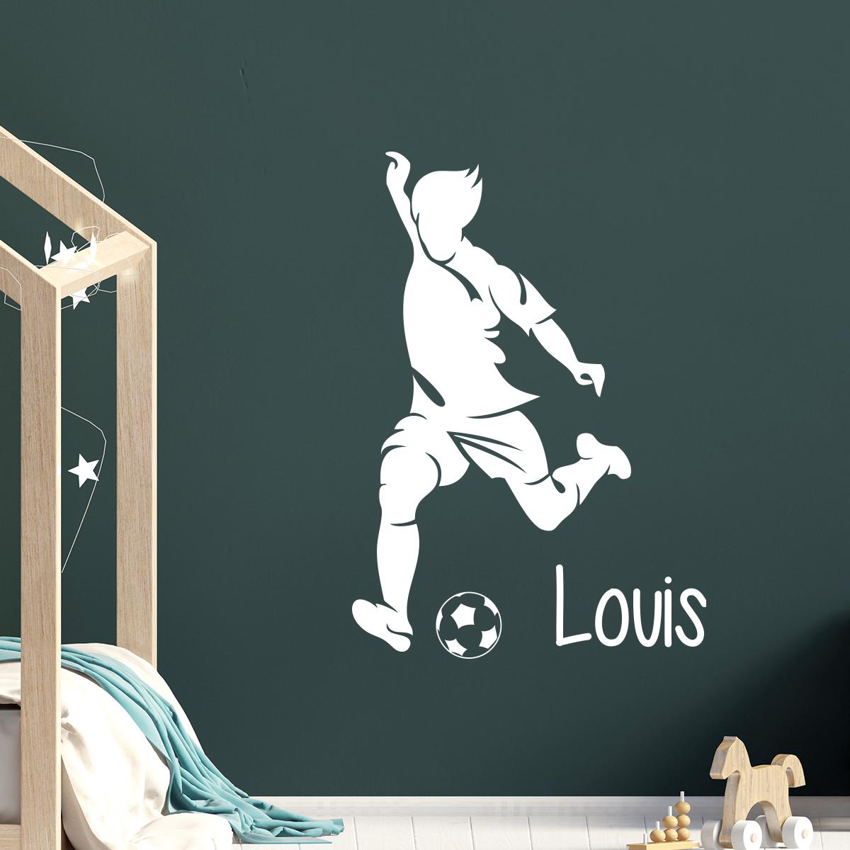 Sticker pr nom personnalis footballeur avec la balle sports et football football ambiance - Stickers muraux personnalise ...