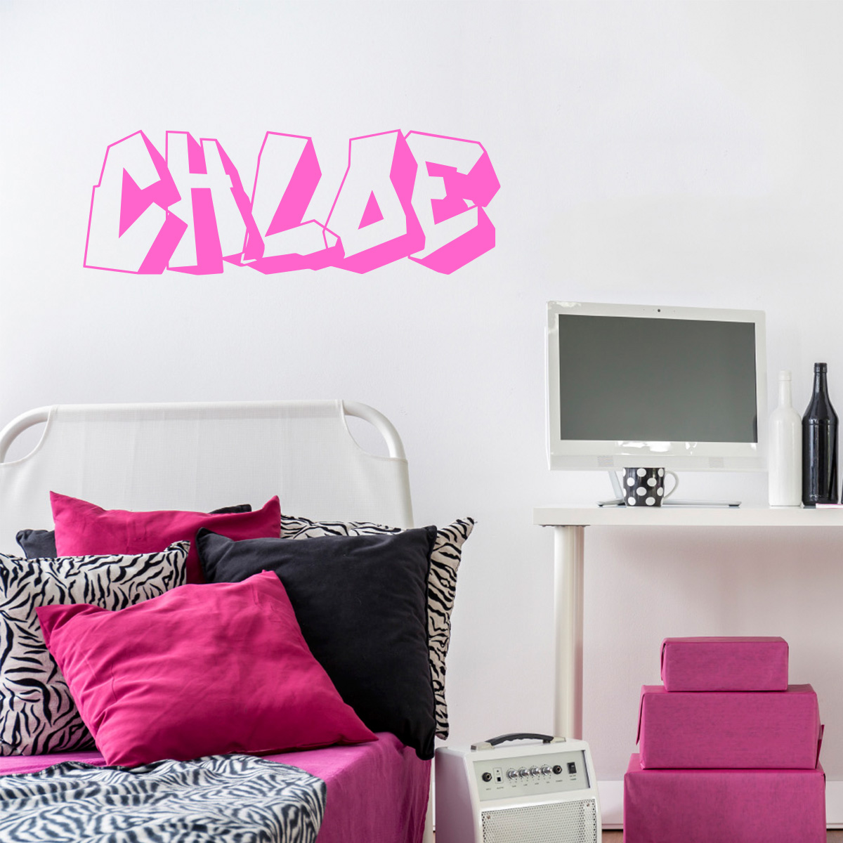Sticker pr nom personnalis graffiti stickers chambre for Stickers muraux chambre ado garcon
