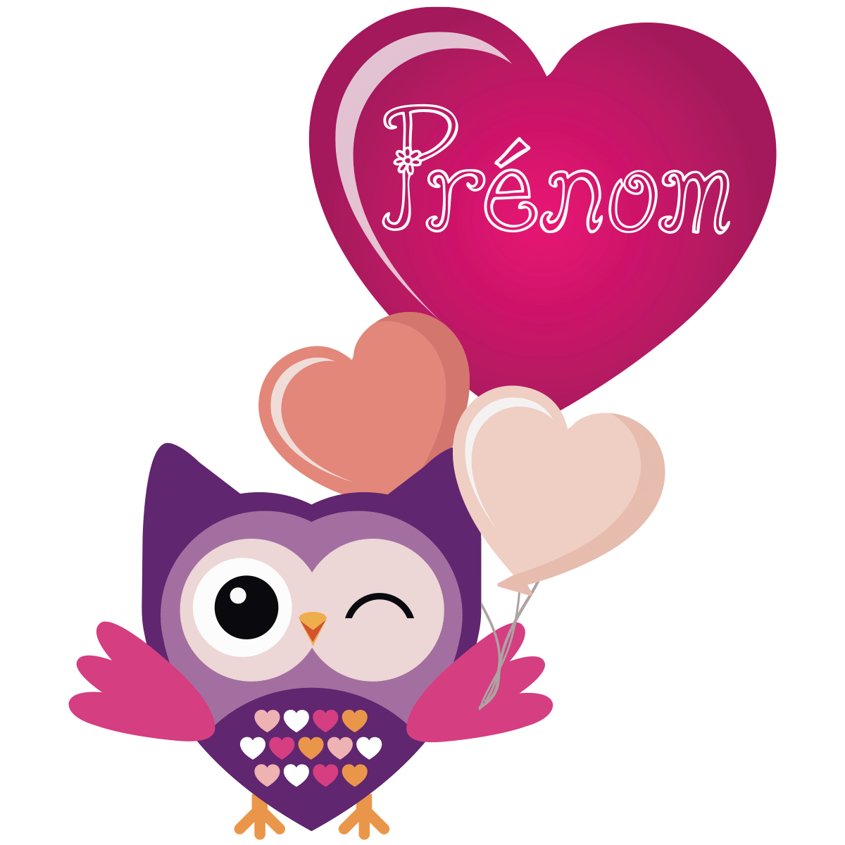 sticker pr nom personnalis hibou festif stickers filles coeurs ambiance sticker. Black Bedroom Furniture Sets. Home Design Ideas