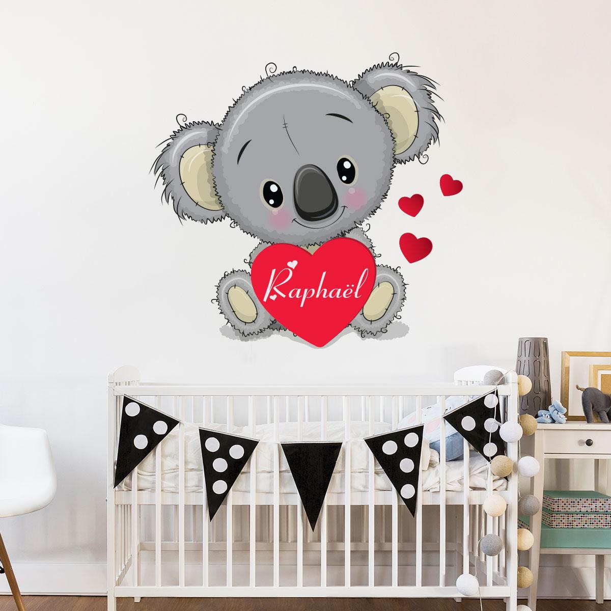 Sticker pr nom personnalis koala amoureux stickers animaux animaux de la jungle ambiance - Stickers muraux personnalise ...