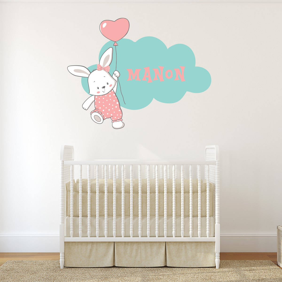 sticker pr nom personnalis lapine et nuage stickers animaux animaux de la ferme ambiance. Black Bedroom Furniture Sets. Home Design Ideas
