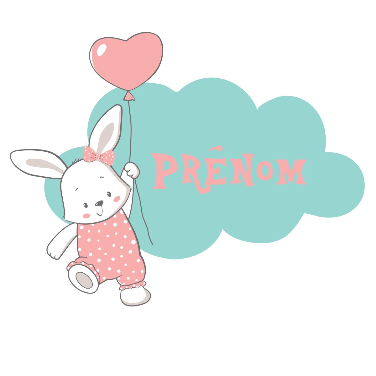Sticker prénom personnalisé lapine et nuage – Stickers