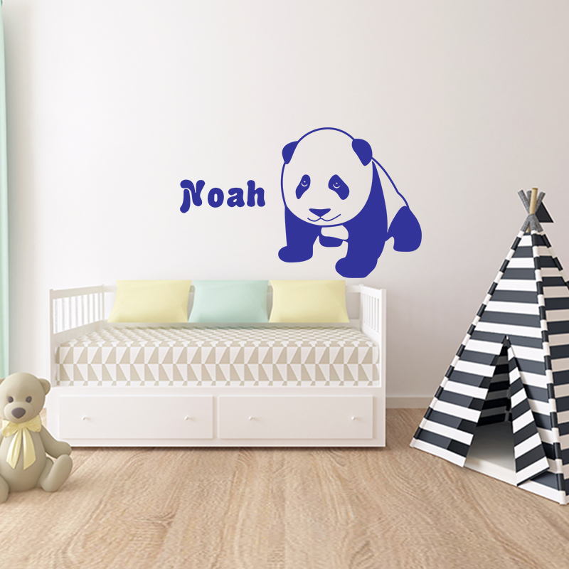 sticker pr nom personnalis le panda texte personnalisable pr nom ambiance sticker. Black Bedroom Furniture Sets. Home Design Ideas