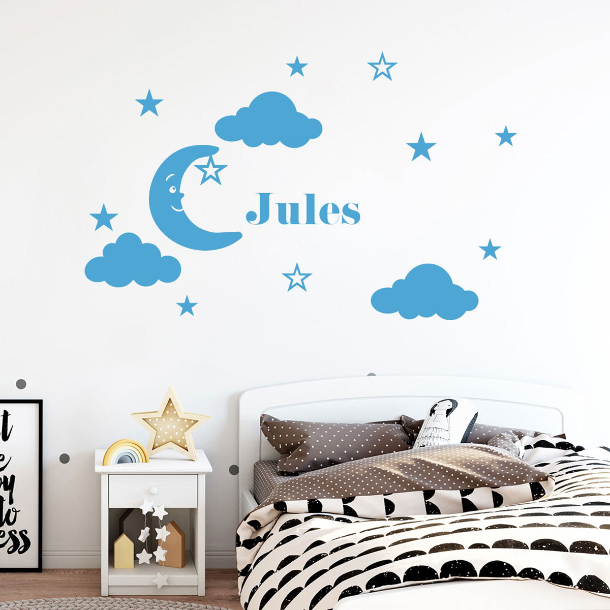 sticker pr nom personnalis lune sympathique mini stickers pr nom perso ambiance sticker. Black Bedroom Furniture Sets. Home Design Ideas