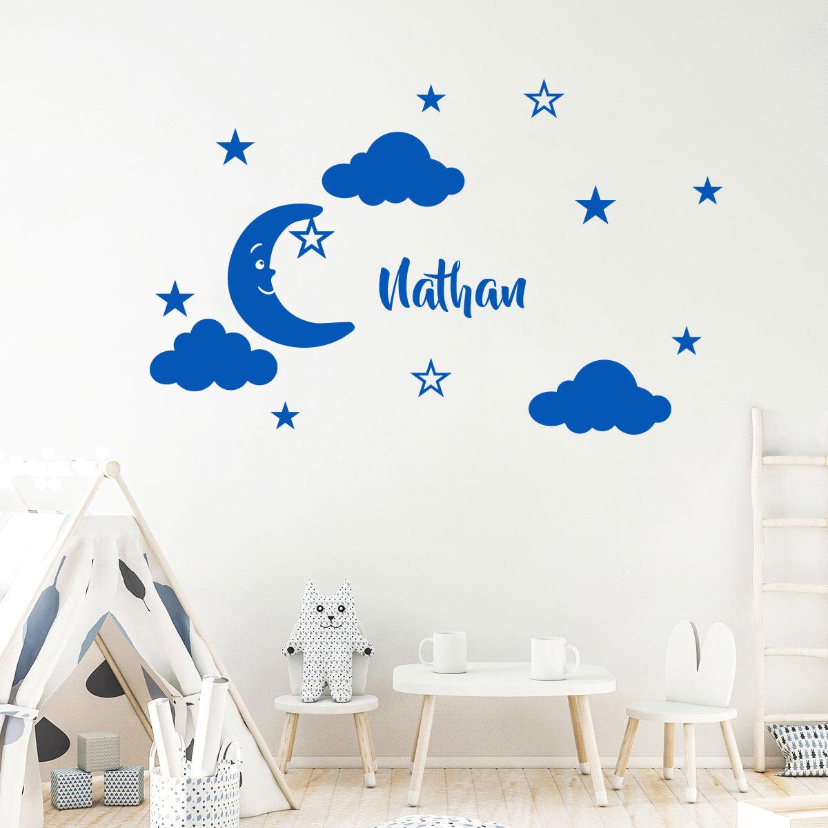 sticker pr nom personnalis lune sympathique mini stickers pr nom perso ambiance sticker. Black Bedroom Furniture Sets. Home Design Ideas