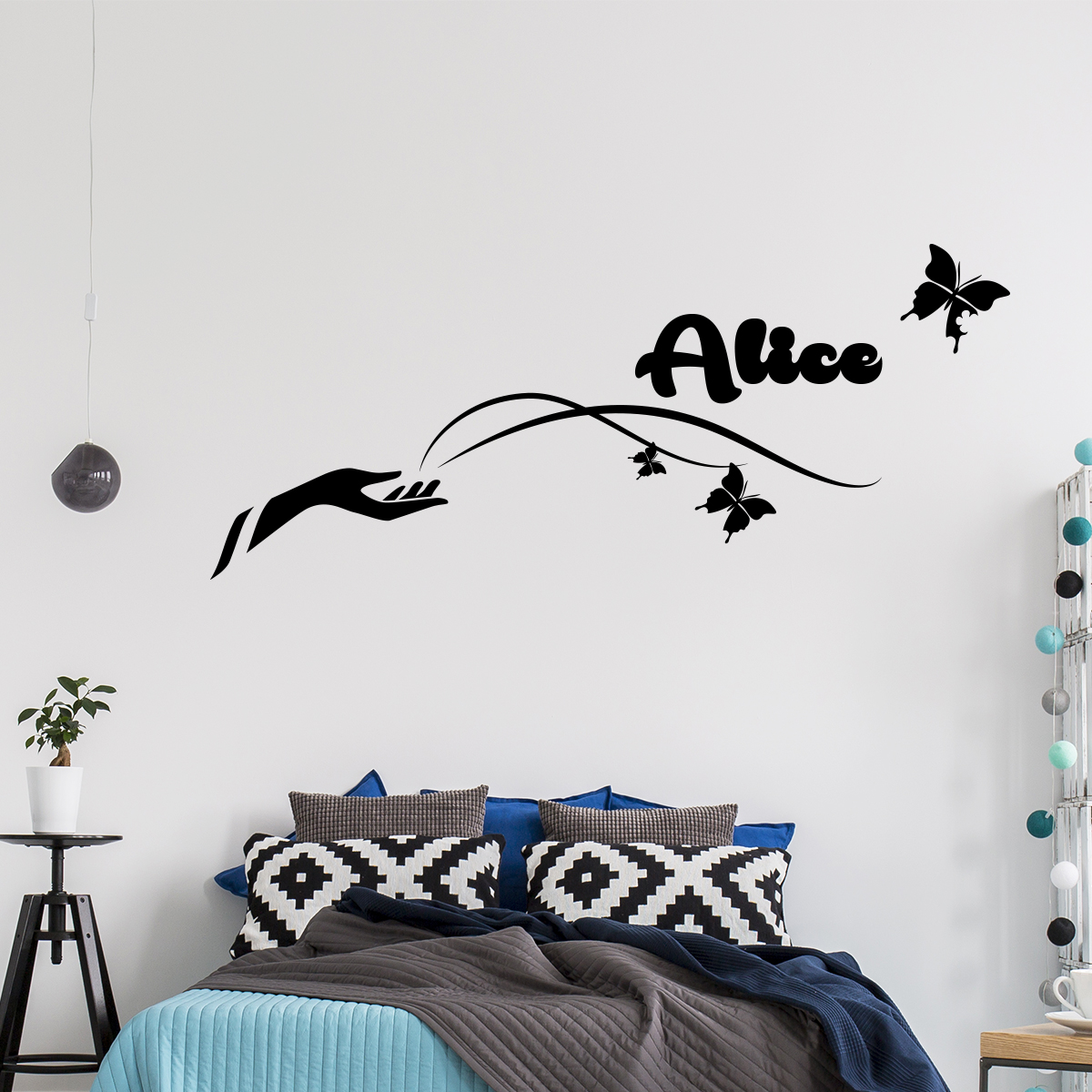 Sticker pr nom personnalis magie des papillons animaux papillons ambiance sticker - Stickers muraux personnalise ...