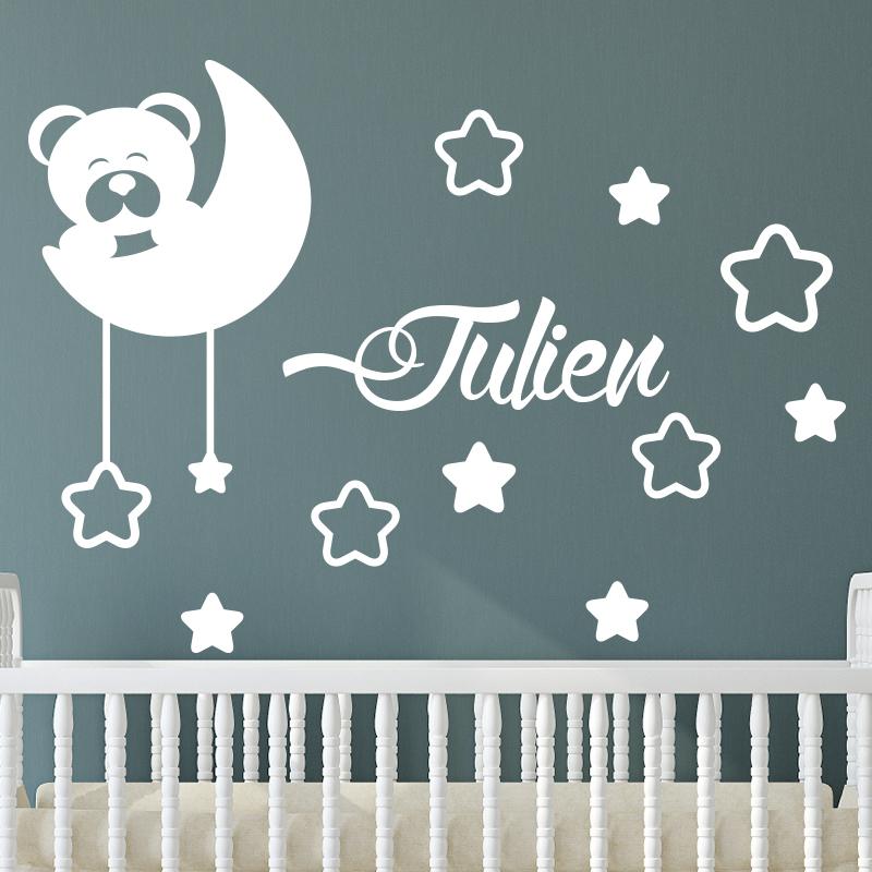 sticker pr nom personnalis ourson avec les toiles stickers chambre enfants pr noms. Black Bedroom Furniture Sets. Home Design Ideas