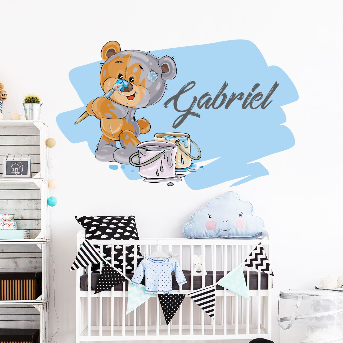 sticker pr nom personnalis ourson en peluche stickers chambre enfants chambre b b ambiance. Black Bedroom Furniture Sets. Home Design Ideas