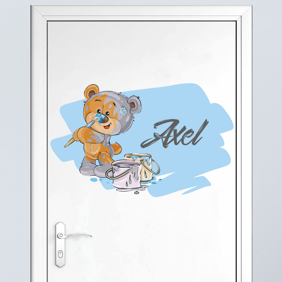 Sticker pr nom personnalis ourson en peluche stickers for Stickers ourson chambre bebe
