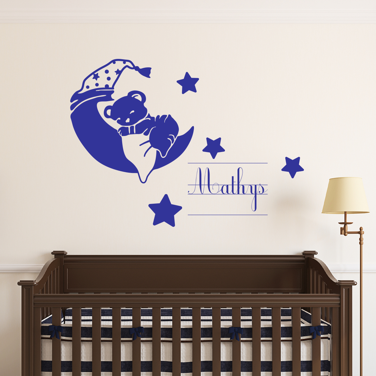 sticker pr nom personnalis ourson endormi mini stickers pr nom perso ambiance sticker. Black Bedroom Furniture Sets. Home Design Ideas
