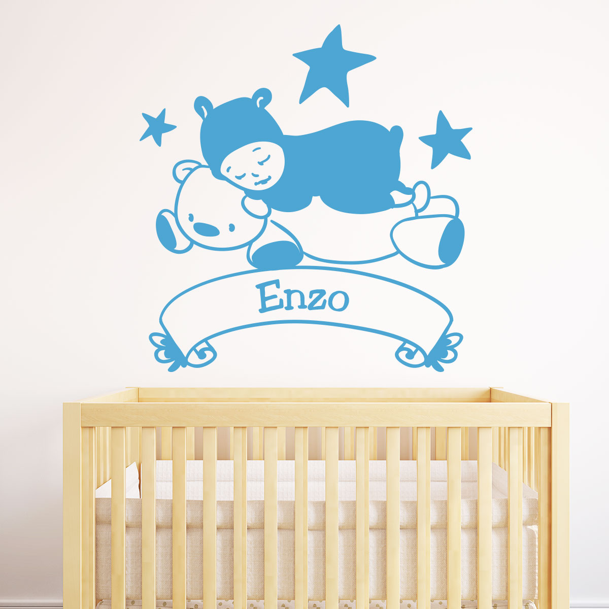 Sticker pr nom personnalis ourson et b b chambre for Stickers ourson chambre bebe