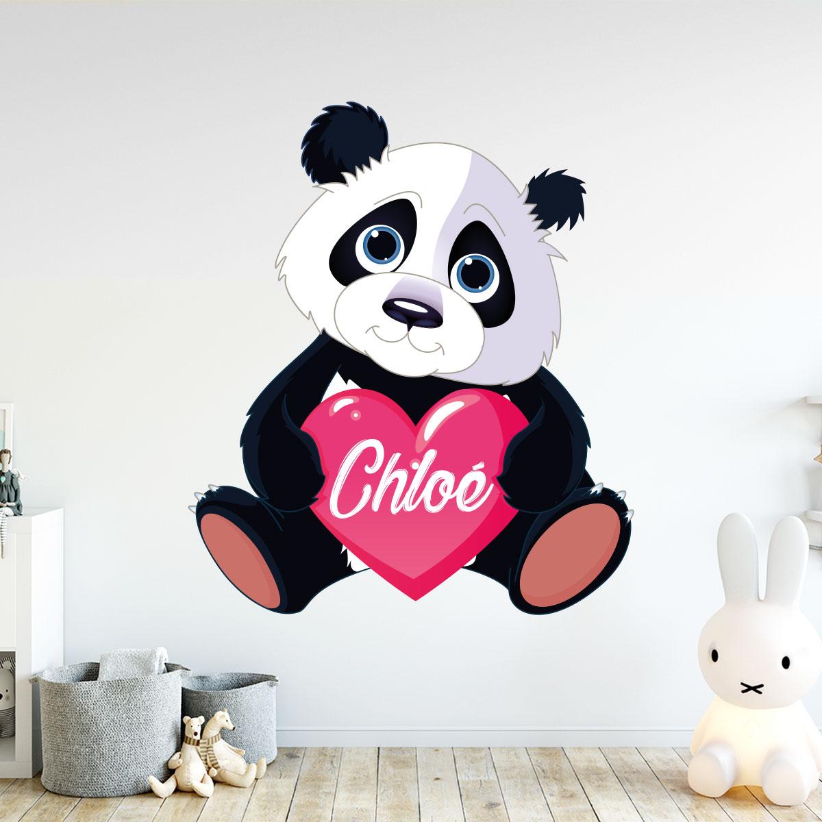 Sticker pr nom personnalis panda amoureux stickers filles coeurs ambiance sticker - Stickers muraux personnalise ...