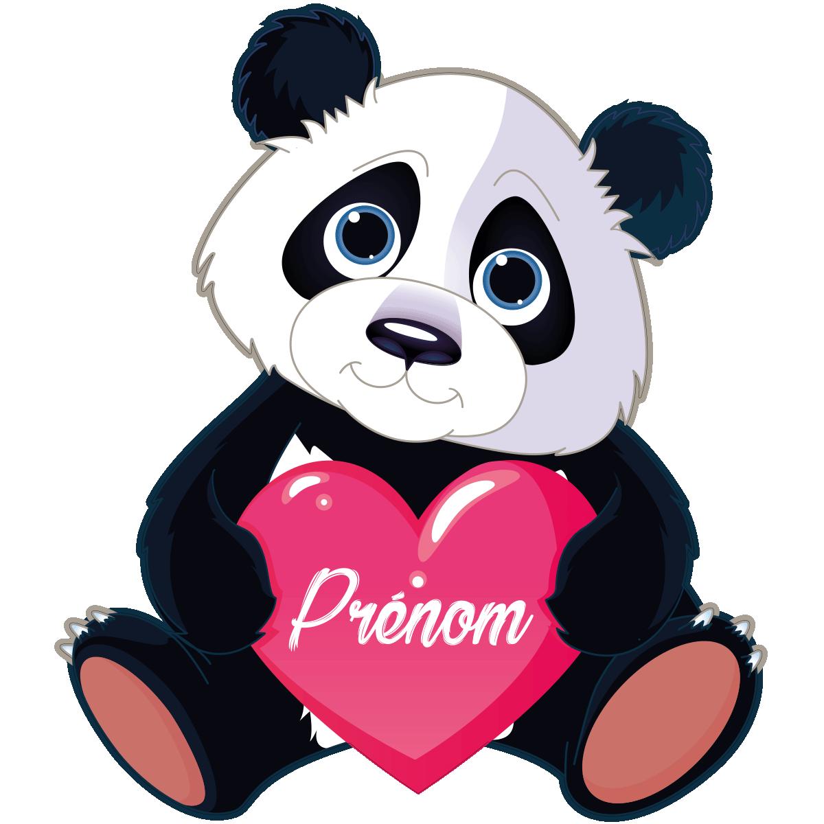 Sticker pr nom personnalis panda amoureux stickers - Tete de panda dessin ...