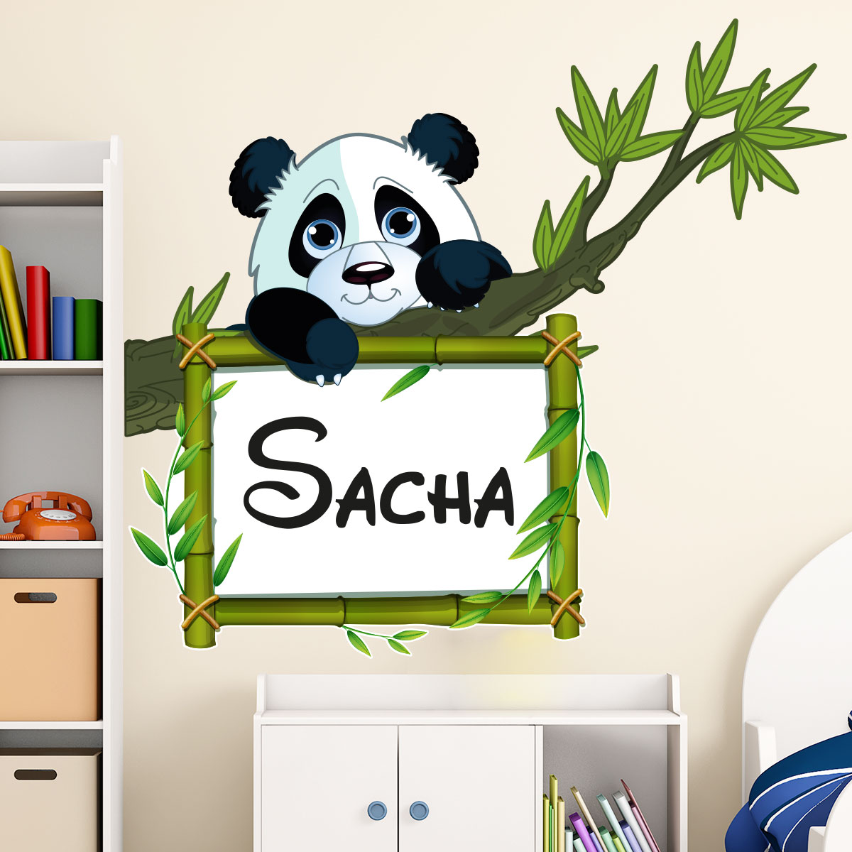 sticker pr nom personnalis panda sur sa branche stickers nature arbres ambiance sticker. Black Bedroom Furniture Sets. Home Design Ideas