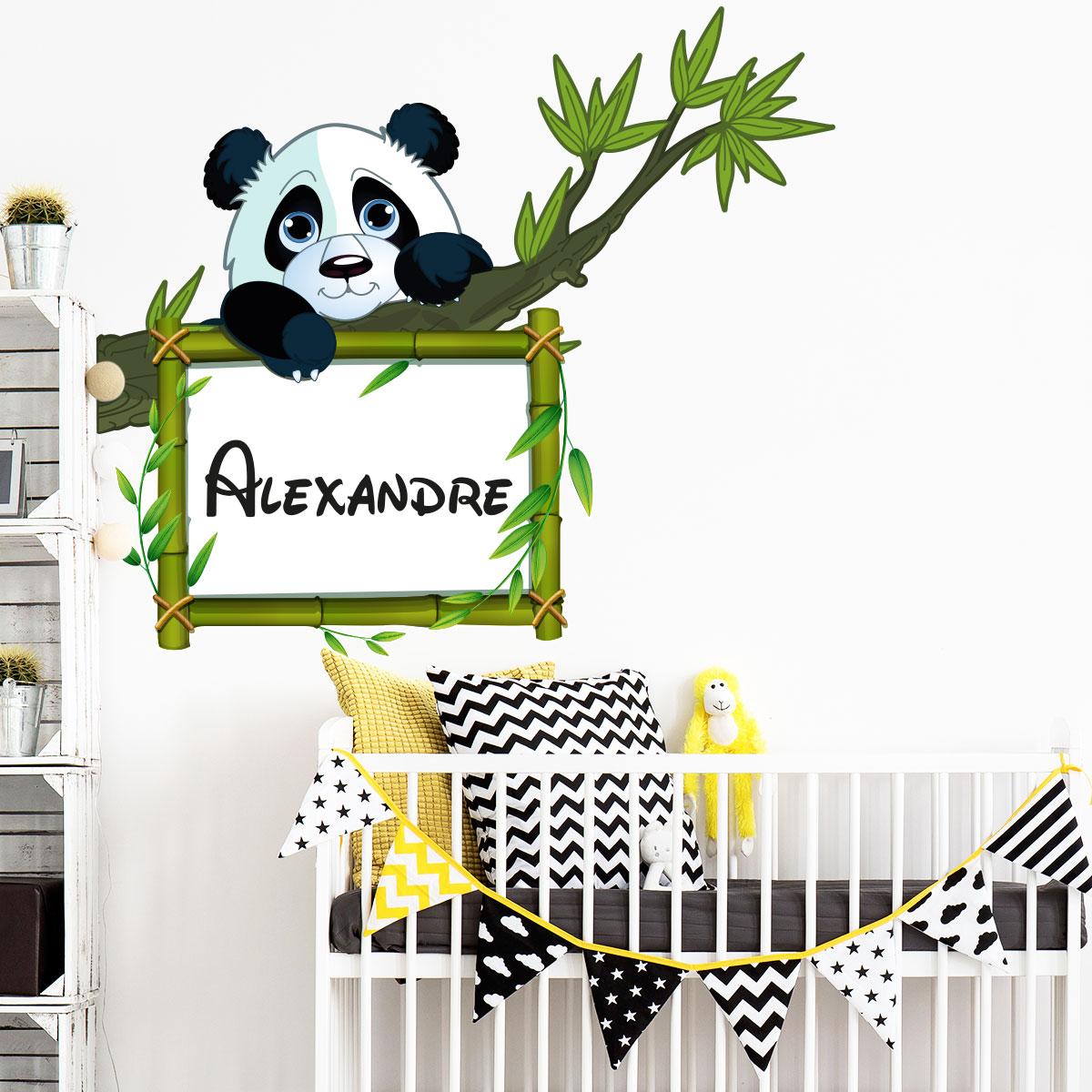 sticker pr nom personnalis panda sur sa branche. Black Bedroom Furniture Sets. Home Design Ideas