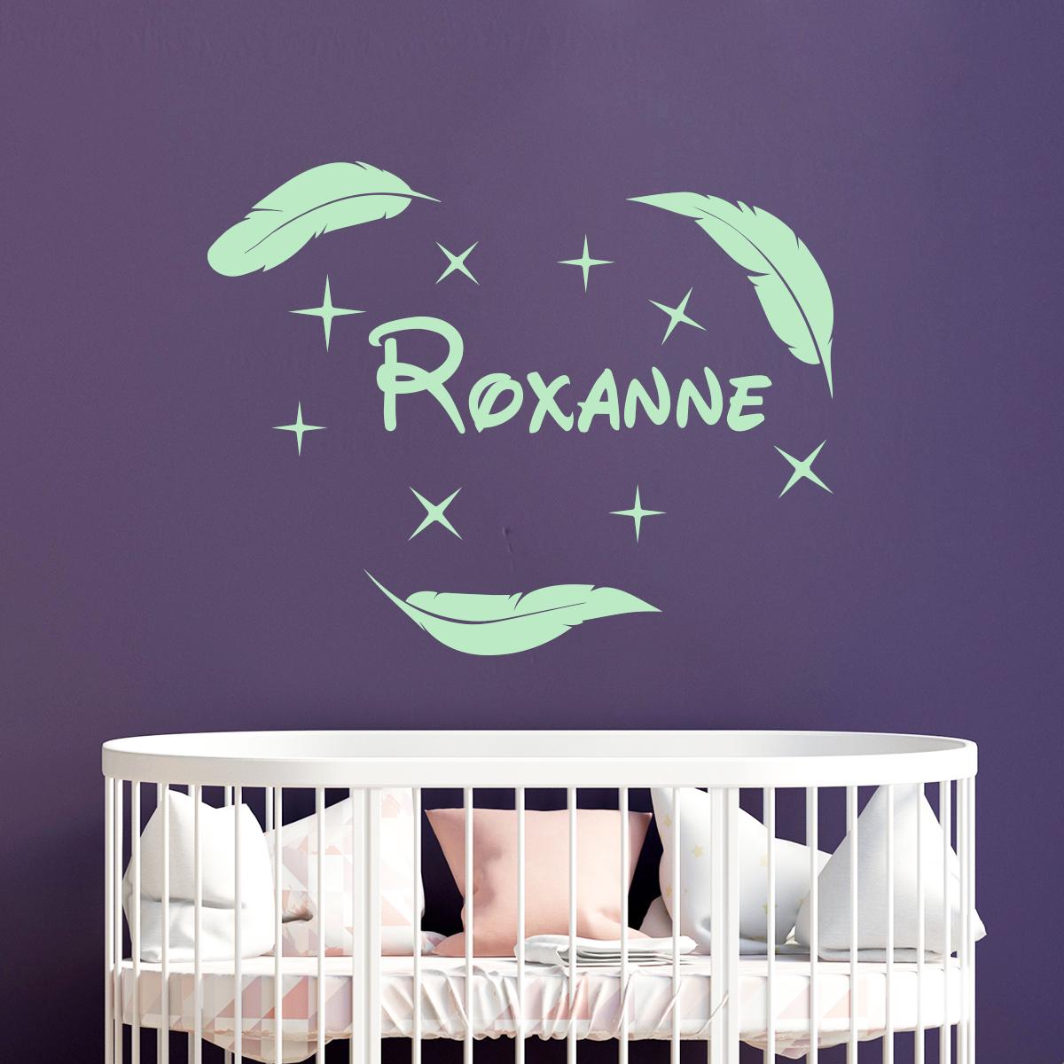 sticker pr nom personnalis plumes avec les toiles chambre enfants pr noms ambiance sticker. Black Bedroom Furniture Sets. Home Design Ideas