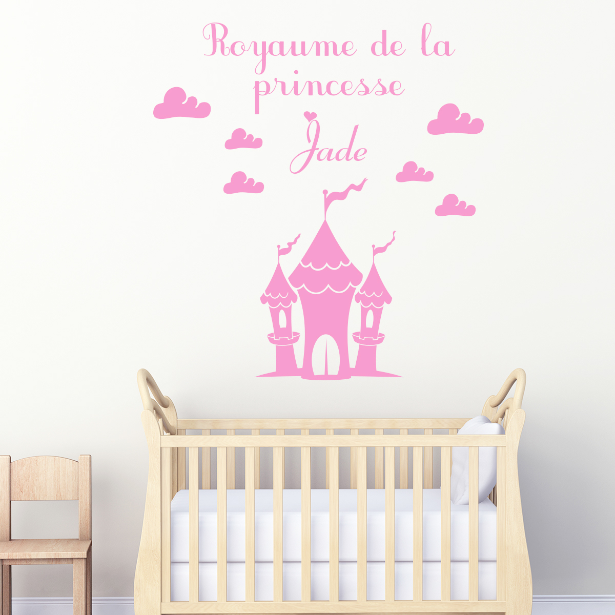 sticker pr nom personnalis royaume de la princesse mini stickers pr nom perso ambiance sticker. Black Bedroom Furniture Sets. Home Design Ideas