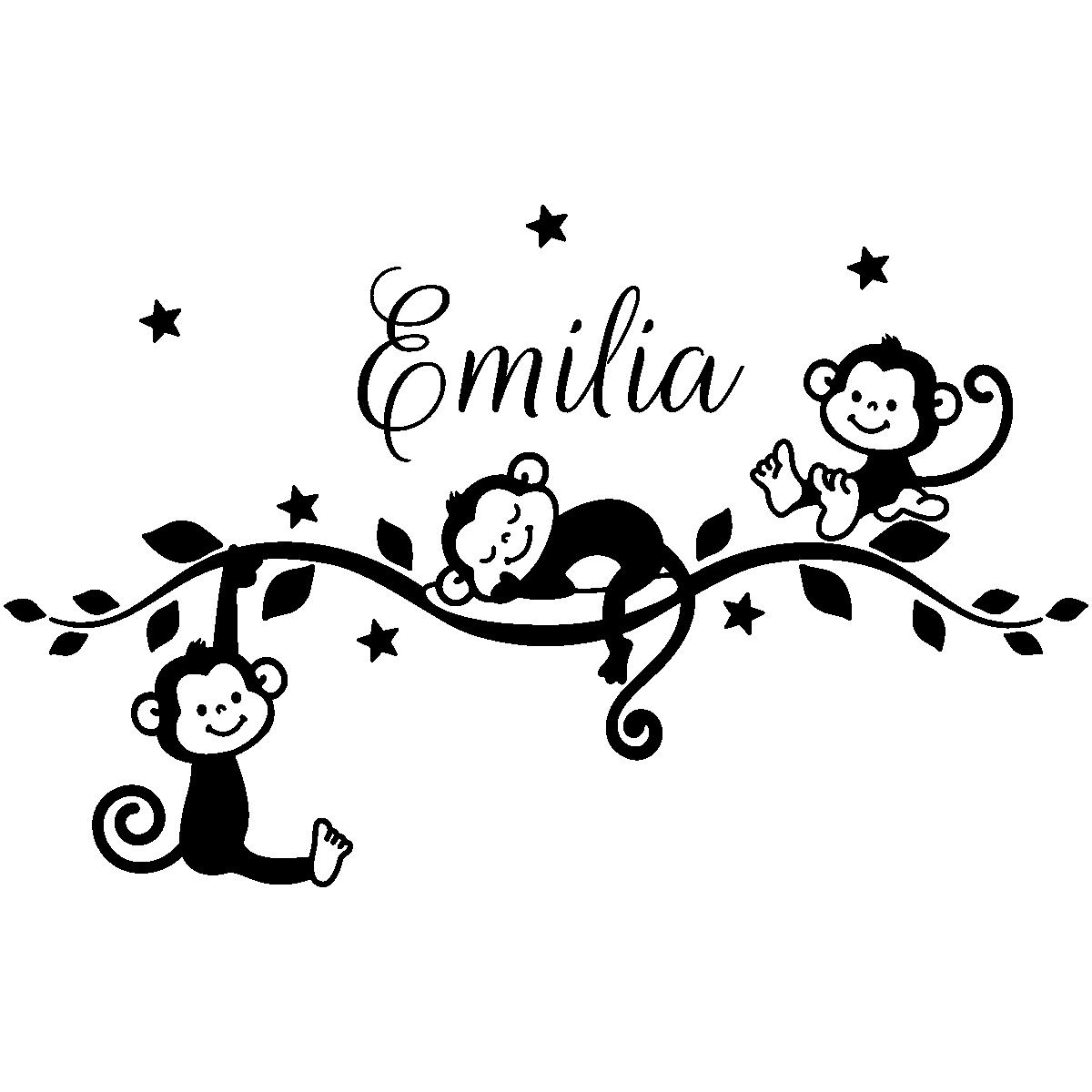sticker pr nom personnalis singes jungle stickers animaux animaux de la jungle ambiance sticker. Black Bedroom Furniture Sets. Home Design Ideas