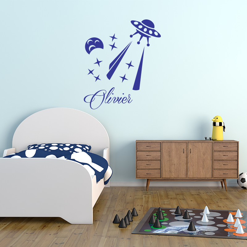 sticker pr nom personnalis vaisseau spatial extraterrestre stickers chambre enfants pr noms. Black Bedroom Furniture Sets. Home Design Ideas