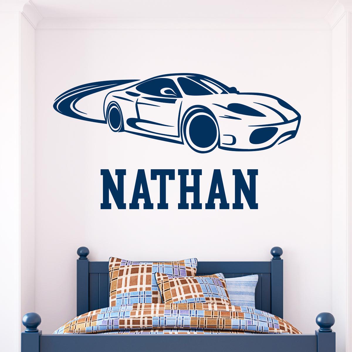 Sticker pr nom personnalis voiture chambre ado gar on - Deco chambre voiture garcon ...