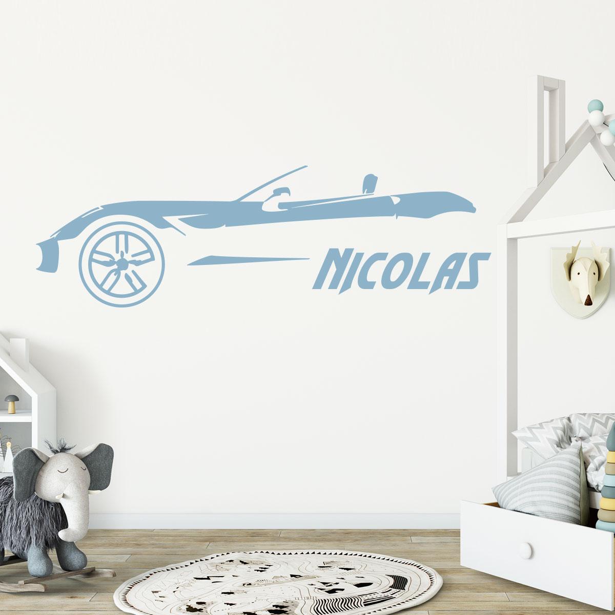 Sticker pr nom personnalis voiture de luxe chambre - Stickers muraux personnalise ...