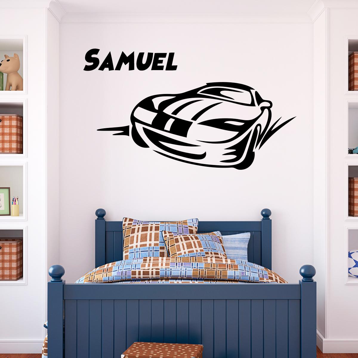 Sticker pr nom personnalis voiture sportive chambre ado gar on ambiance sticker - Stickers voiture chambre garcon ...