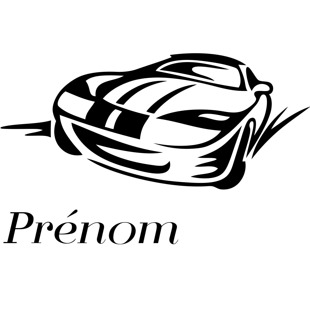 Sticker pr nom personnalis voiture sportive chambre ado - Stickers voiture chambre garcon ...