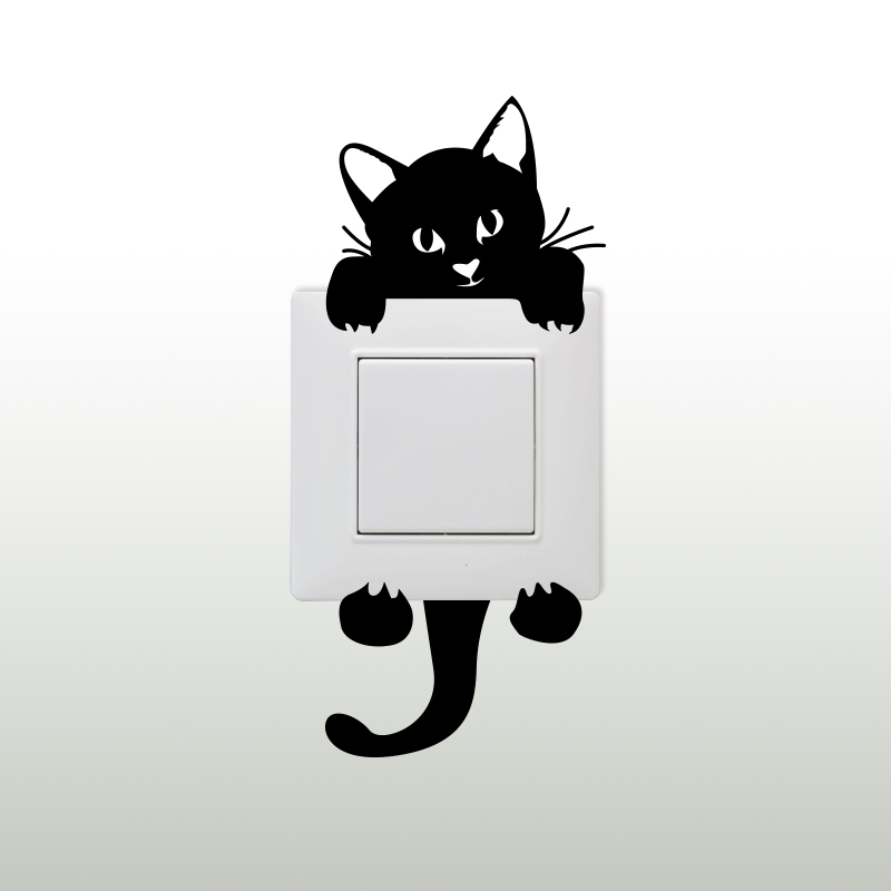 sticker prise petit chat suspendu stickers mini stickers animaux ambiance sticker. Black Bedroom Furniture Sets. Home Design Ideas