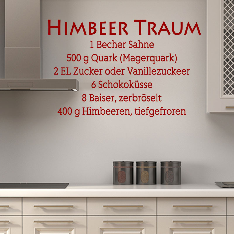 sticker recette cuisine himbeer traum stickers cuisine textes et recettes ambiance sticker. Black Bedroom Furniture Sets. Home Design Ideas