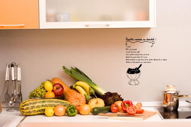 stickers muraux pour la cuisine sticker recette mouse au chocolat ambiance. Black Bedroom Furniture Sets. Home Design Ideas