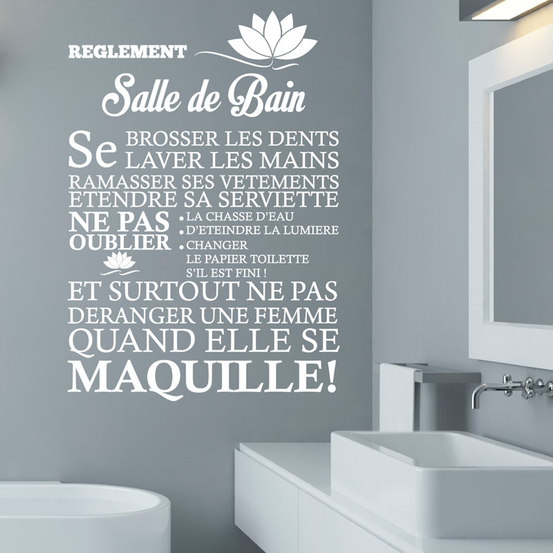 Sticker r glement de la salle de bain stickers citations for Stickers meuble salle de bain