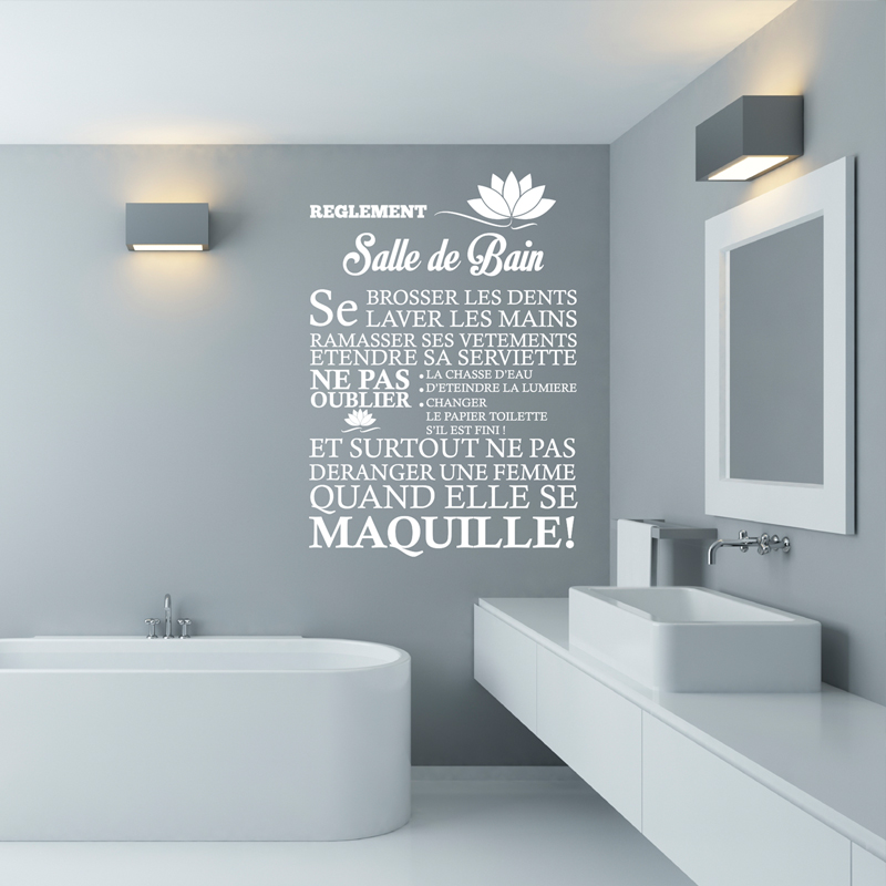 Sticker r glement de la salle de bain stickers citations for Stickers carreaux salle de bain
