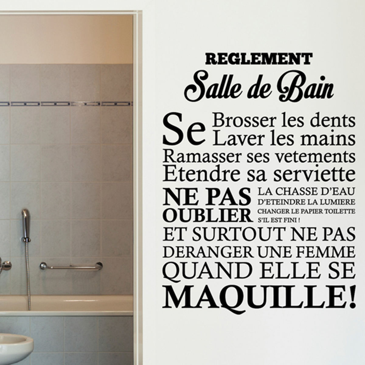 Sticker r glement de la salle de bain stickers citations for Citation salle de bain