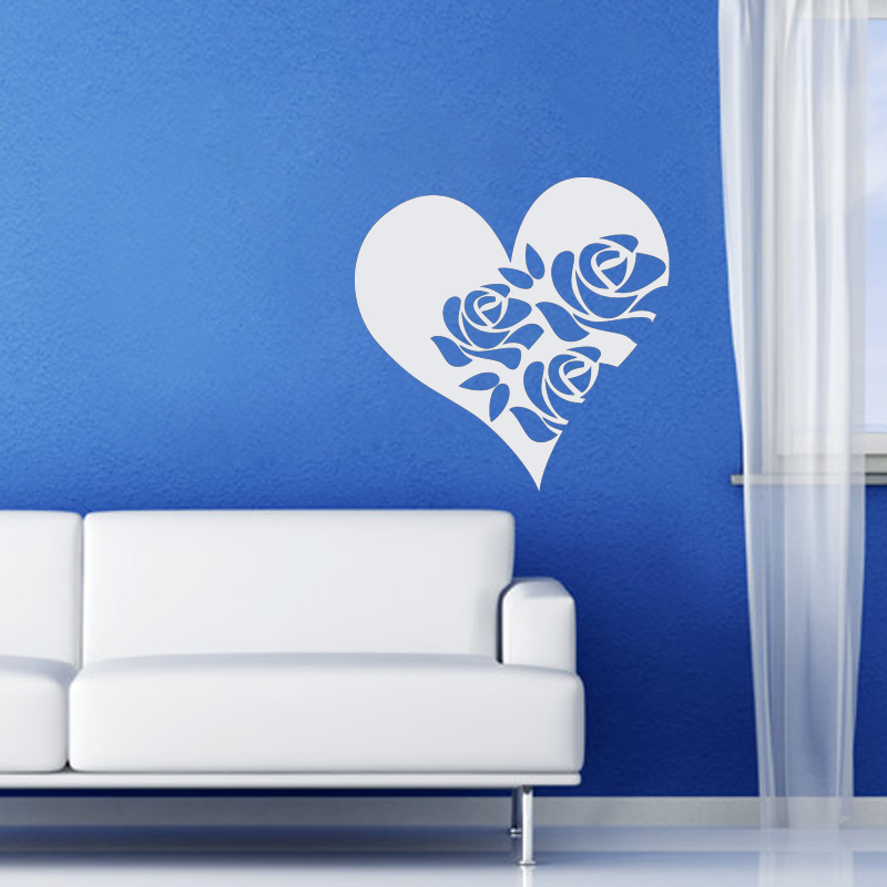 Stickers muraux pour chambre sticker mural roses et c ur for Stickers muraux chambre