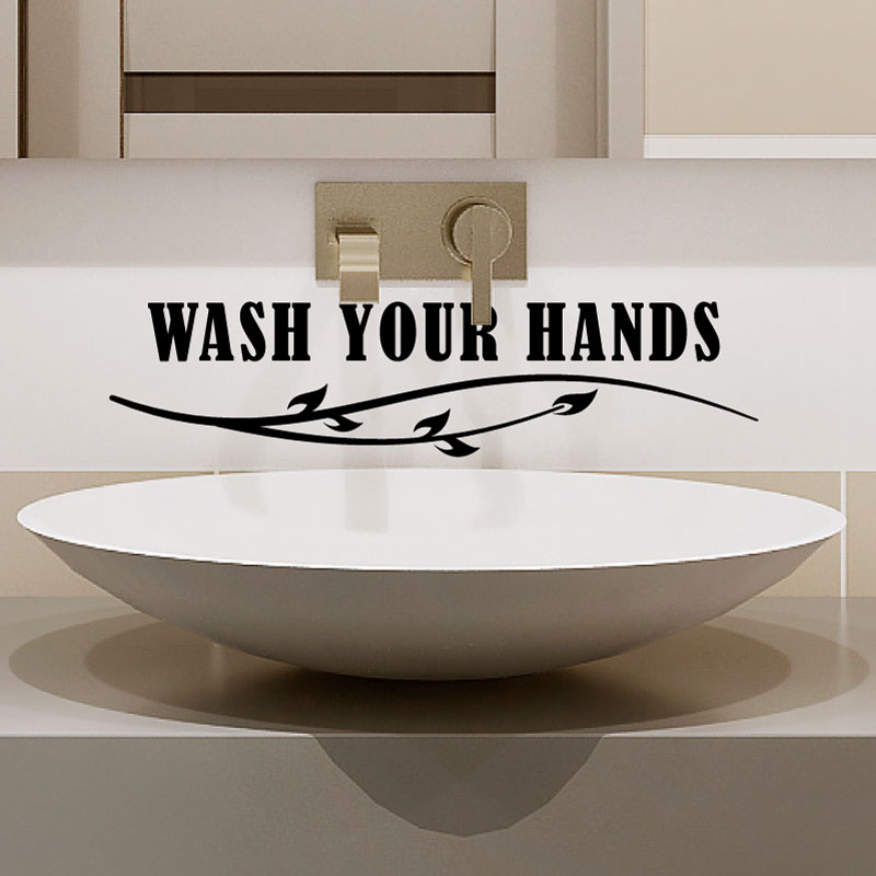 Sticker salle de bain citation wash your hands stickers for Citation salle de bain
