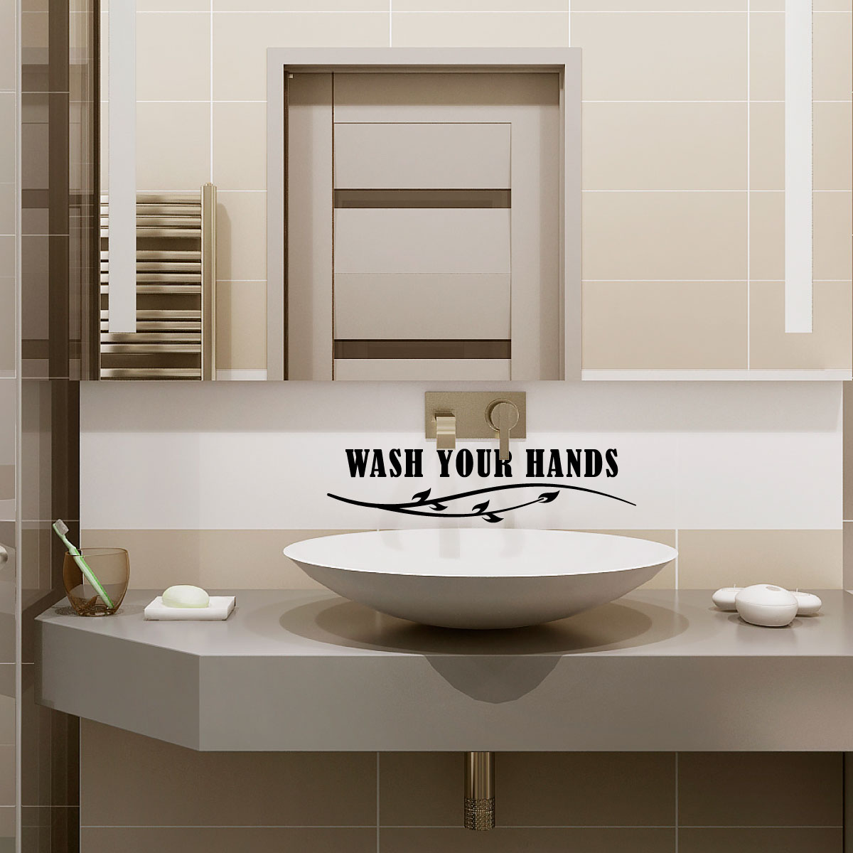 sticker salle de bain citation wash your hands stickers toilettes murs wc ambiance sticker. Black Bedroom Furniture Sets. Home Design Ideas