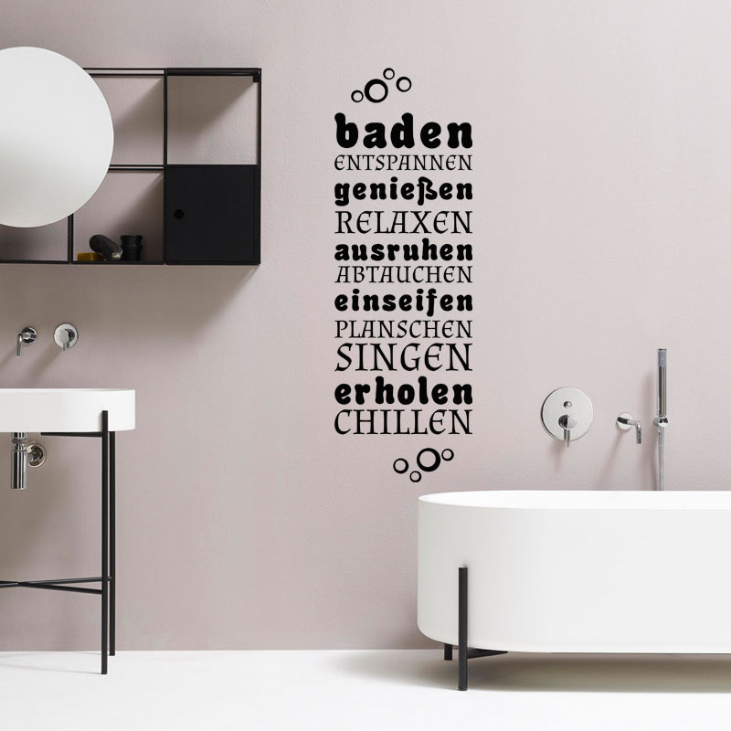 sticker salle de bain citation baden genieben ausruhen stickers citations allemand. Black Bedroom Furniture Sets. Home Design Ideas