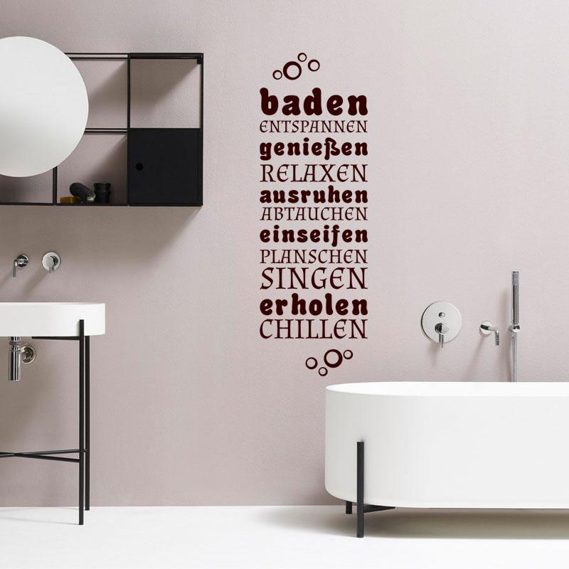 sticker salle de bain citation baden genieben ausruhen stickers citations allemand. Black Bedroom Furniture Sets. Home Design Ideas