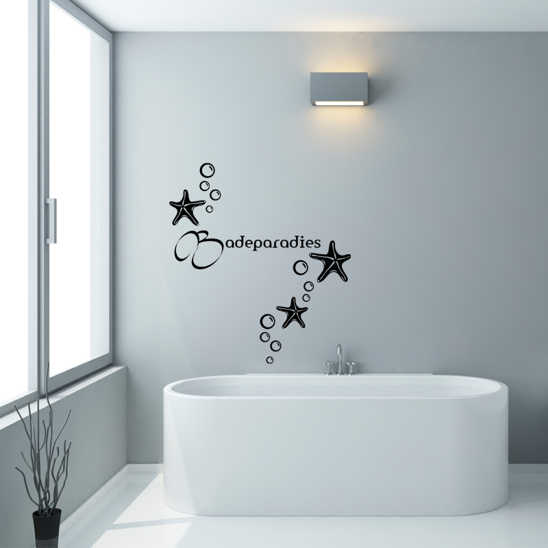 Sticker salle de bain citation badeparadies stickers for Deco salle de bain stickers
