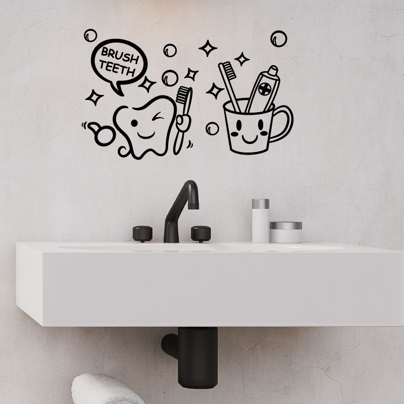 sticker salle de bain citation brush teeth stickers salle de bain mur salle de bain ambiance. Black Bedroom Furniture Sets. Home Design Ideas