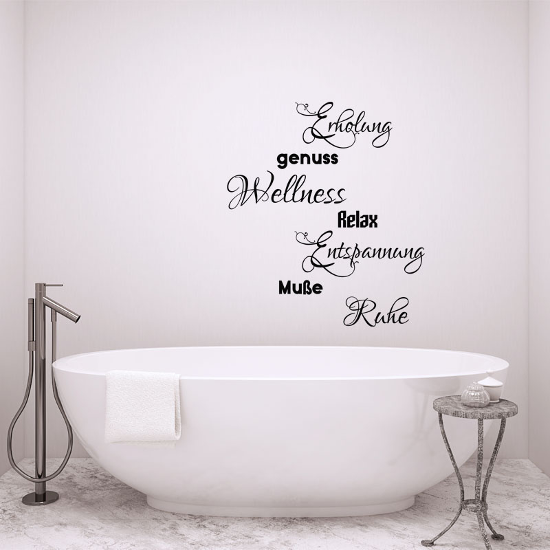 Sticker salle de bain citation Enholung, genuss, Relax