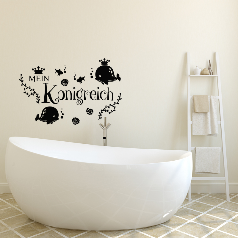 Sticker salle de bain citation mein konigreich stickers for Citation salle de bain