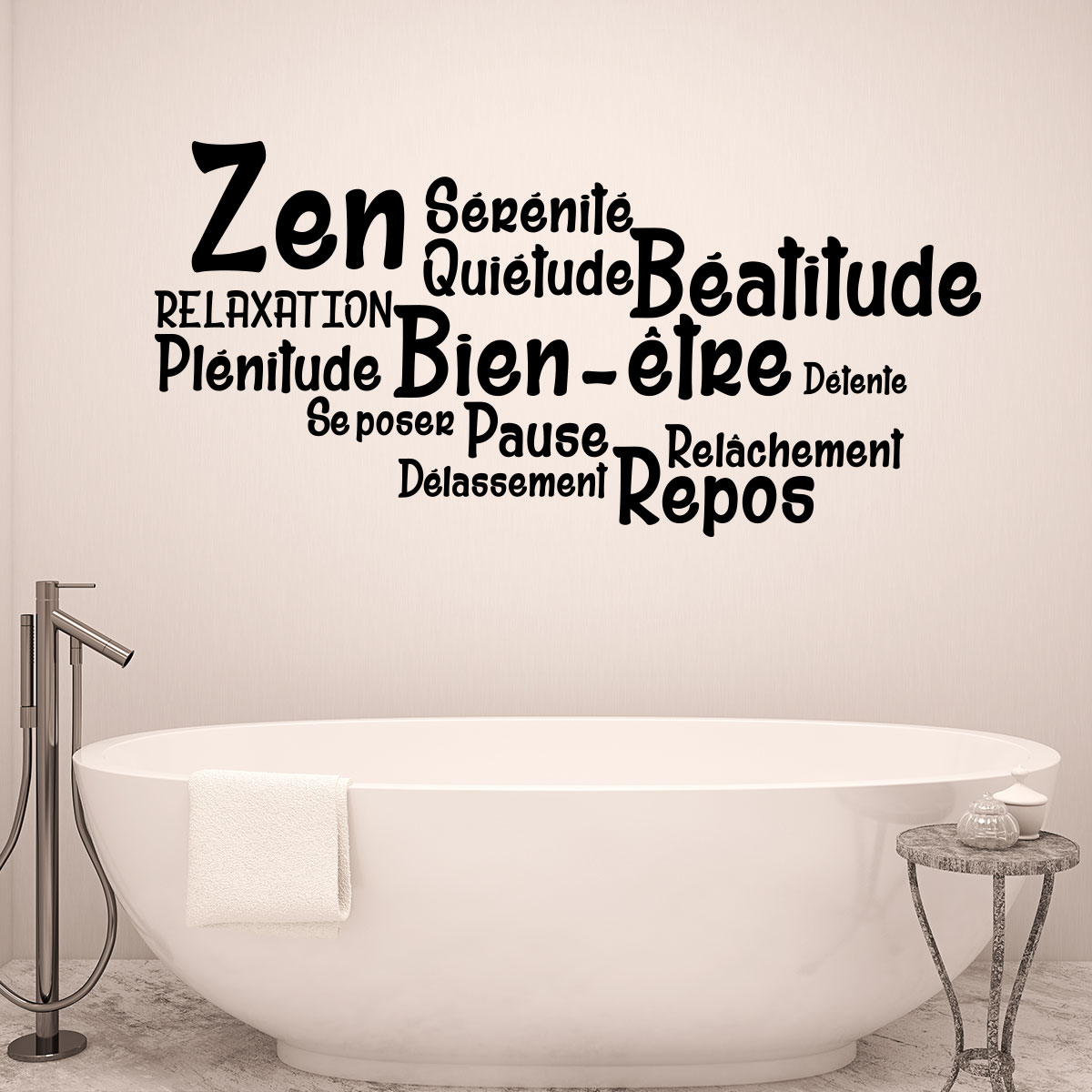 Sticker salle de bain citation zen bien tre repos for Citation salle de bain