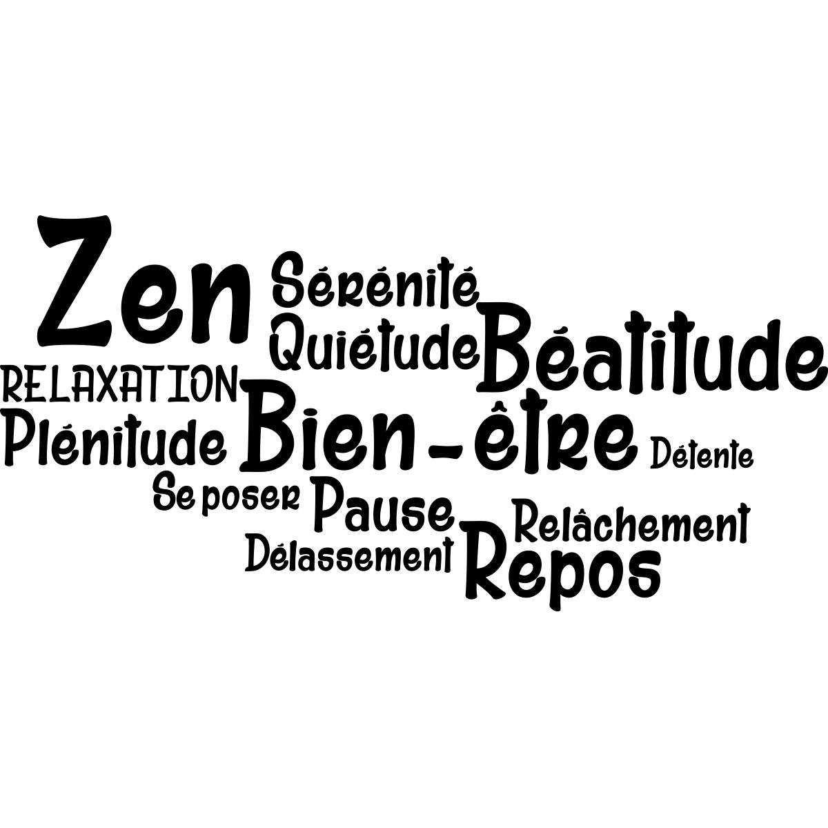 Sticker salle de bain citation zen bien tre repos for Salle bien etre