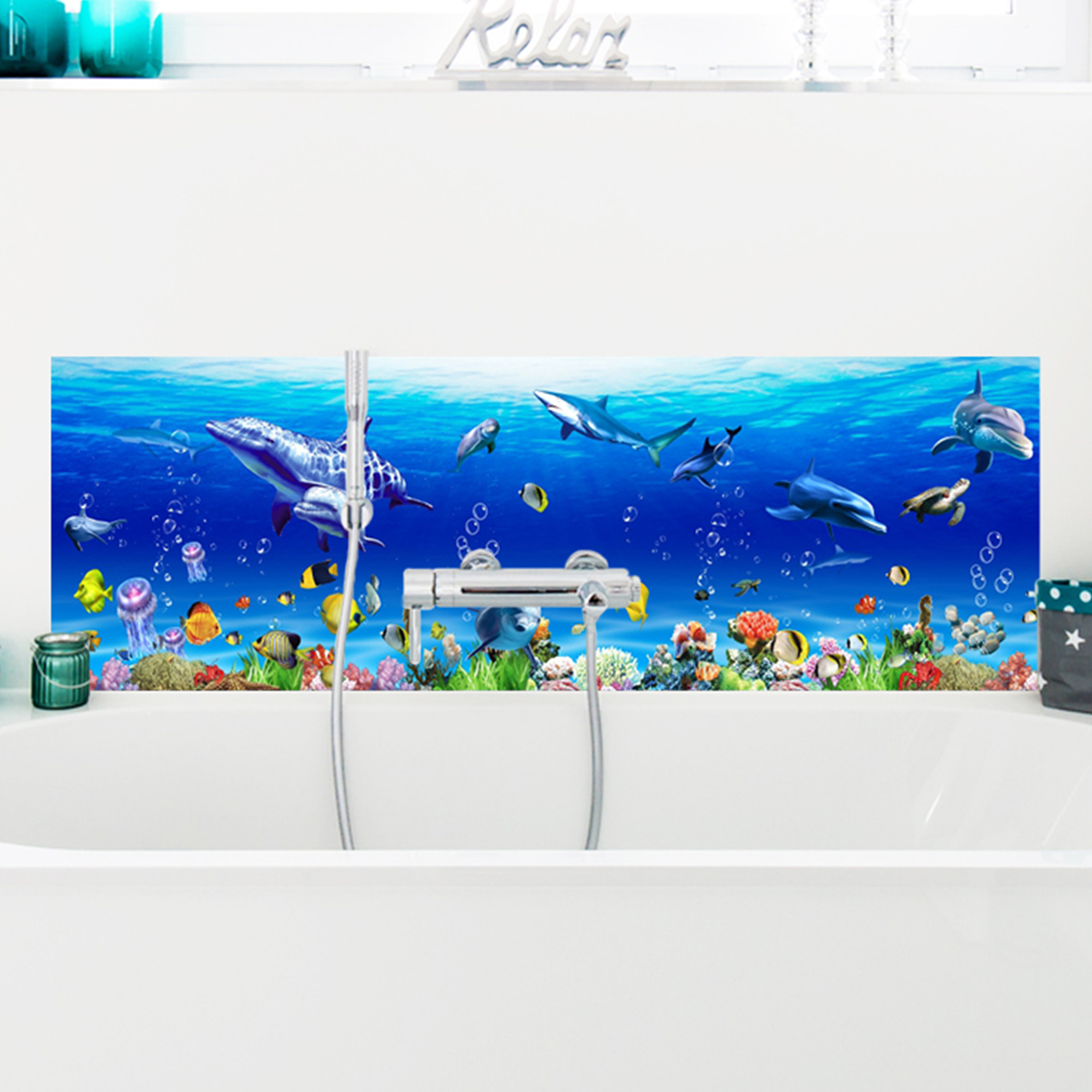 sticker salle de bain dauphin baleine poissons exotiques. Black Bedroom Furniture Sets. Home Design Ideas