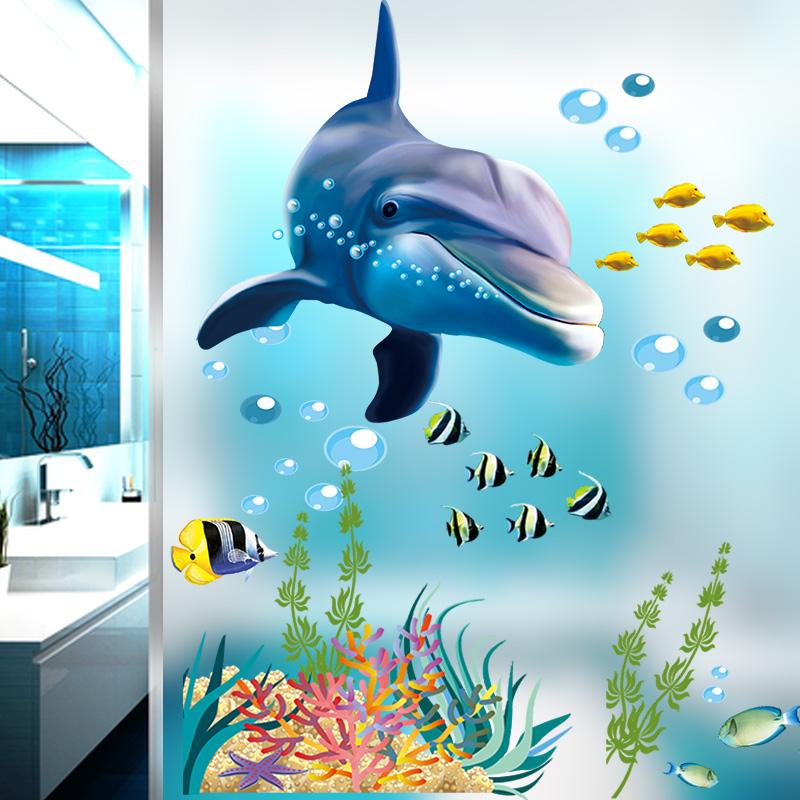 sticker salle de bain dauphin et poissons exotiques. Black Bedroom Furniture Sets. Home Design Ideas