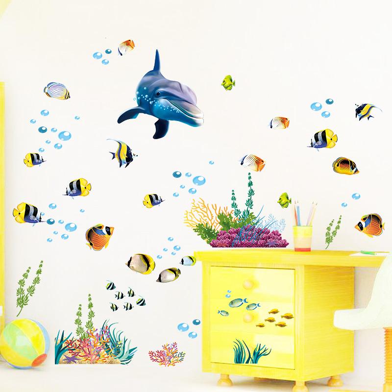 sticker salle de bain dauphin et poissons exotiques